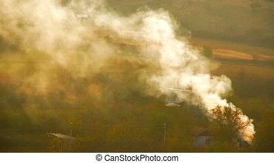 Fire in a village