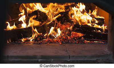 fire in a wood burning oven