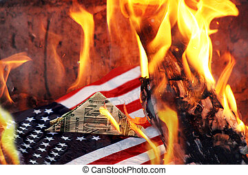 Fire in America, disaster in California. The American flag and the dollar.