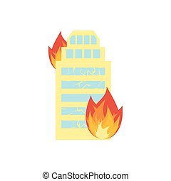 Fire in building. Flames from office windows. Arson home. Burn facility. Spontaneous disaster. Apocalypse on earth