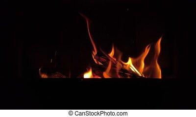 Fire in fireplace. 4k video footage