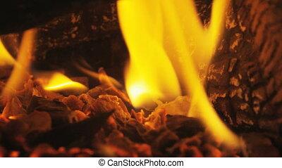 Fire in Fireplace Closeup in Slow Motion - Fire in fireplace...