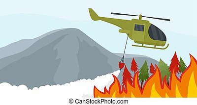 Fire in forest background, flat style - Fire in forest...