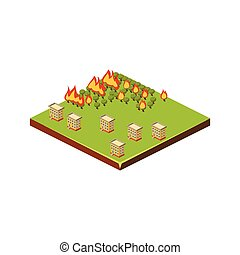 Fire in Forest. Natural Disaster Icon. Vector Illustration
