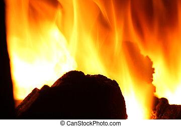 Fire. Burning coal in furnace