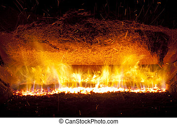 Fire in furnace - Colorful fire in industrial furnace....