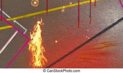 Fire in geometric abstract. Modern art