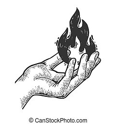 Fire in hand engraving vector illustration. Scratch board...