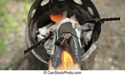Fire in iron stove