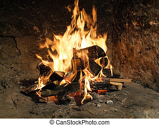 Fire in old fireplace