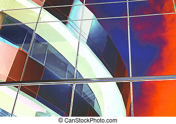 Abstract colorful design from reflecting office windows