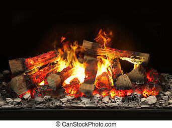 contemporary fireplace with simulated fire and wood fire