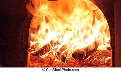 Fire in the kiln burning slow motion - Fire in the kiln...