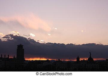 Fire in the sky. Barcelona skyline