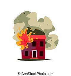 Fire in the window of two storey building vector Illustration
