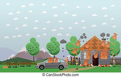 Fire in vacation house vector illustration in flat style. -...