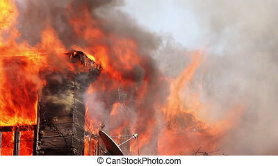 fire in wooden house