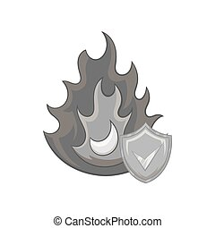 Fire insurance icon, black monochrome style