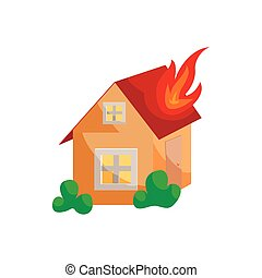 Fire insurance icon, cartoon style