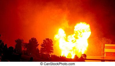 (fire, iowa, foule, sur, feux artifice, bomb), juillet, 2011