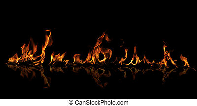 Isolated fire flame on black background