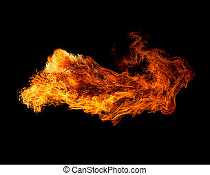 Fire isolated on black background.