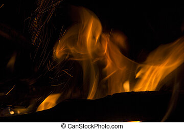 fire isolated over black background