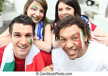 fire, italiensk, soccer, tilhængere