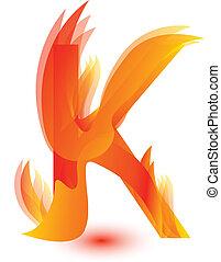 Fire K letter image design vector