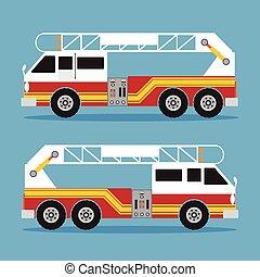Fire ladder truck in flat design. Vector illustration.