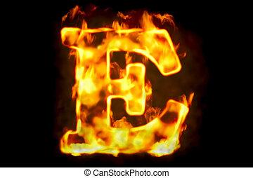 Fire letter E of burning flame light, 3D rendering