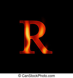 fire letter R isolated on dark background