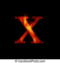 fire letter X isolated on dark background