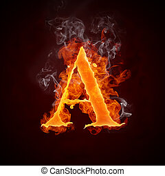 Fire Letters A-Z Isolated on Black Background. Computer Design.