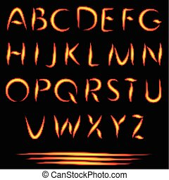 Fire Letters. Burning Font. Glowing Alphabet. Vector