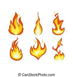 Fire light effect, flames set design vector