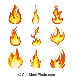 Fire light effect, flames set design vector icon