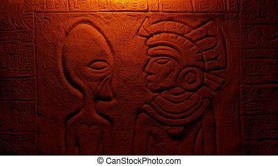 Fire Lights Alien And Aztec Man In Wall Carving - Aztec wall...