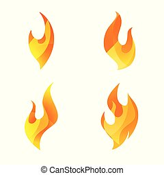 Fire logo icon set of four. Conceptual flame symbols