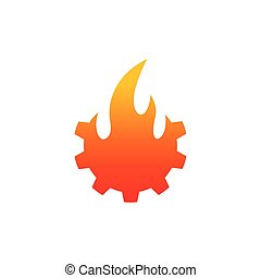 fire logo with gear concept