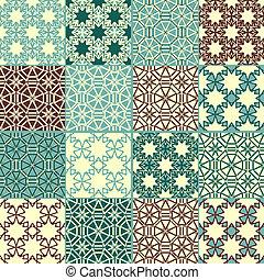 fire, mønstre, sæt, seamless, vektor