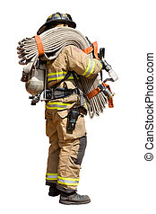 Fire Man - Isolated Fireman Standing with a Fire Hose