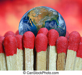 fire match and the earth, including elements furnished by NASA