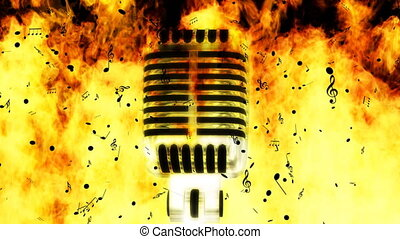 Fire Mic Music Background Loop - Burning Microphone with Ash...