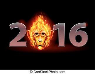 Fire Monkey - New Year Twenty-Sixteen: metal numerals with...