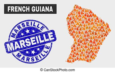 Fire Mosaic French Guiana Map and Grunge Marseille Seal