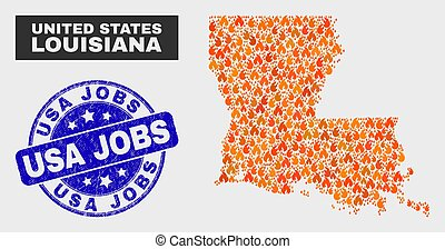 Fire Mosaic Louisiana State Map and Distress USA Jobs Stamp Seal