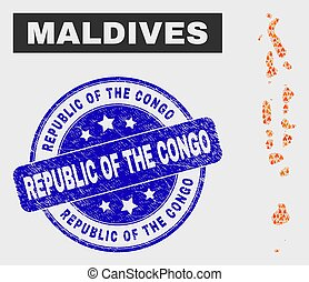 Fire Mosaic Maldives Map and Scratched Republic of the Congo Seal