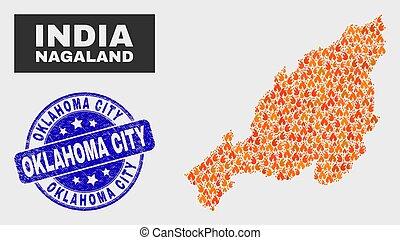 Fire Mosaic Nagaland State Map and Distress Oklahoma City Stamp