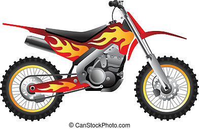 Fire Motorcycle - Sport motorbike with fire design for race